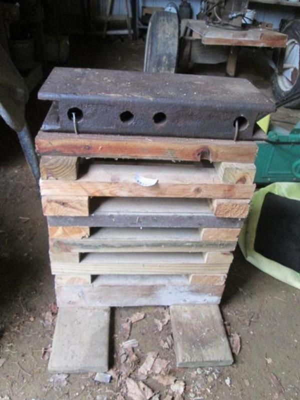 Lot #227Homemade anvil on wood stand